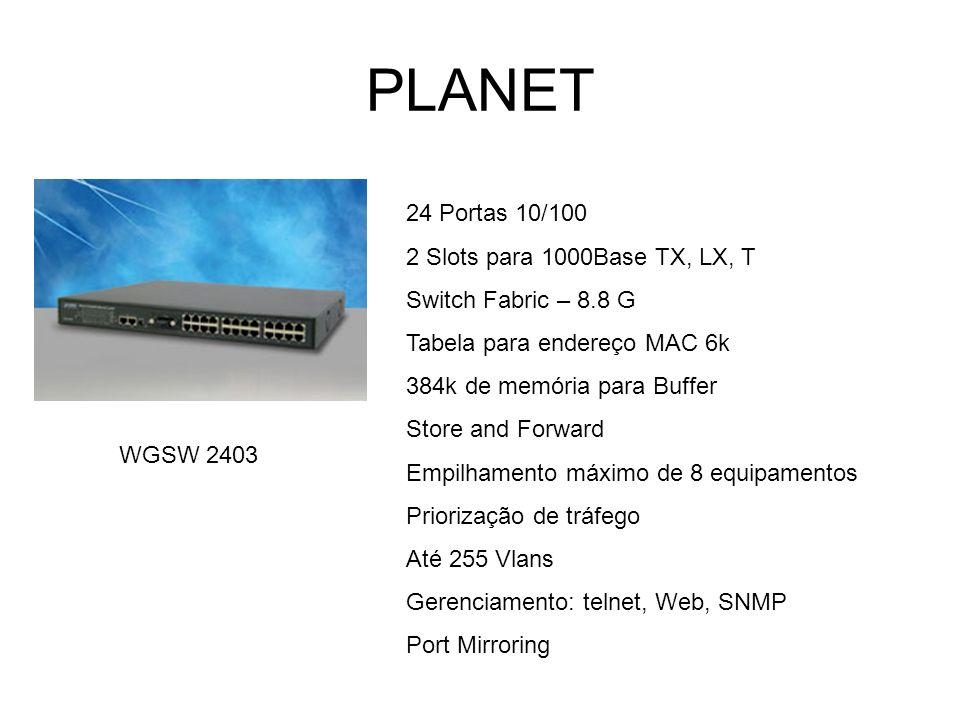 PLANET 24 Portas 10/100 2 Slots para 1000Base TX, LX, T