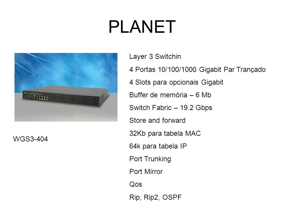 PLANET Layer 3 Switchin 4 Portas 10/100/1000 Gigabit Par Trançado