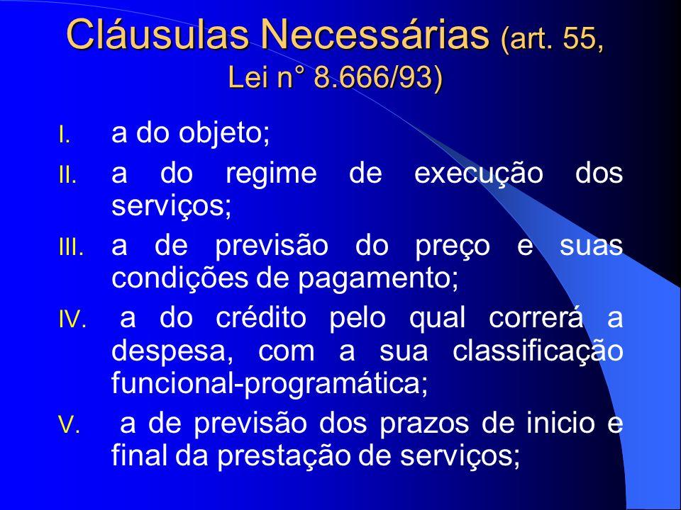 Cláusulas Necessárias (art. 55, Lei n° 8.666/93)