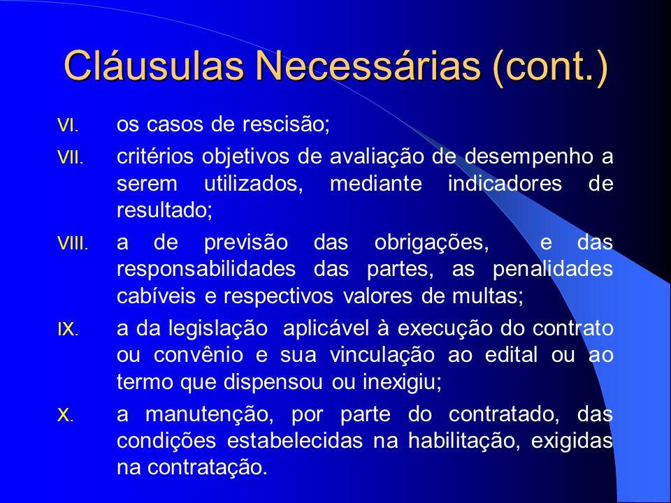 Cláusulas Necessárias (cont.)