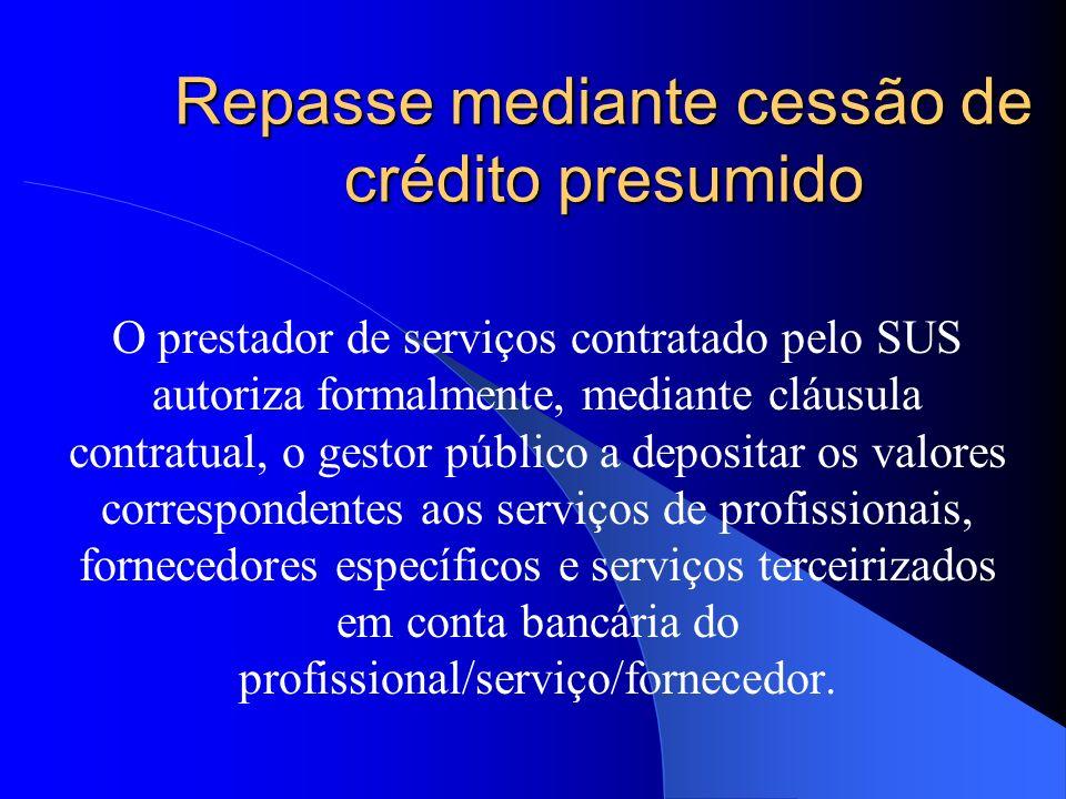 Repasse mediante cessão de crédito presumido