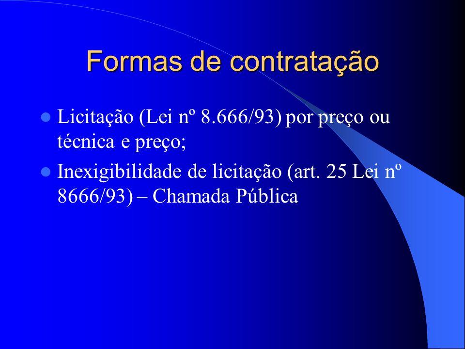 Formas de contratação Licitação (Lei nº 8.666/93) por preço ou técnica e preço;
