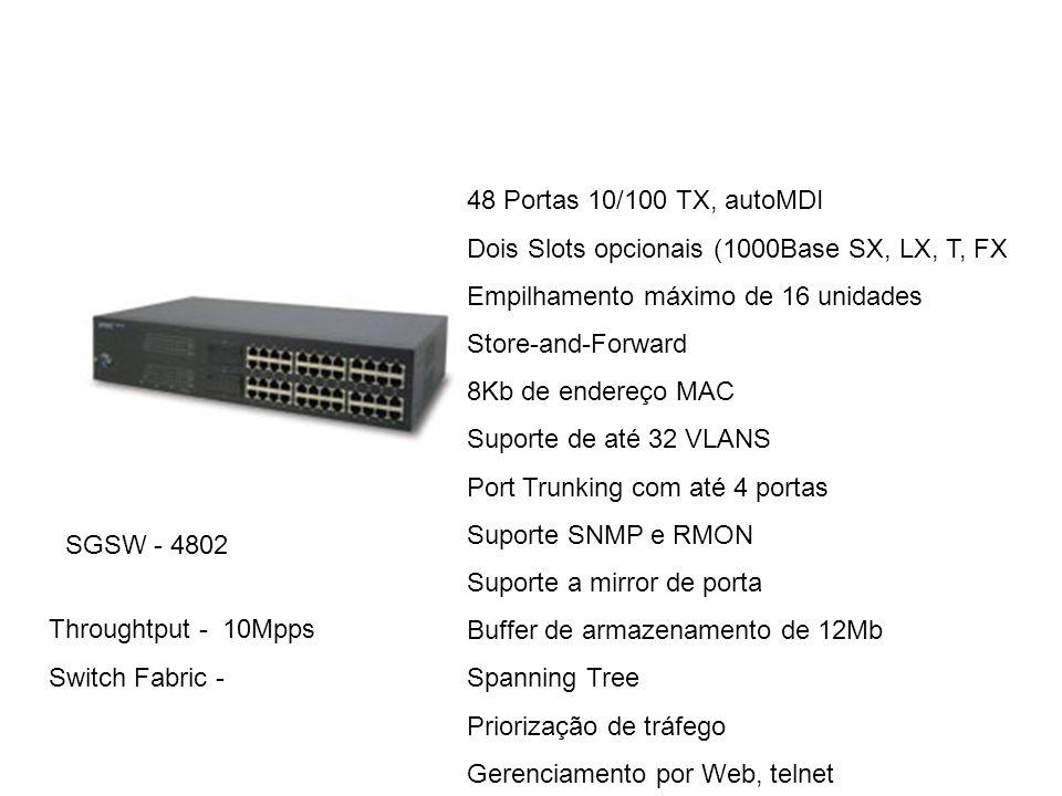 48 Portas 10/100 TX, autoMDI Dois Slots opcionais (1000Base SX, LX, T, FX. Empilhamento máximo de 16 unidades.