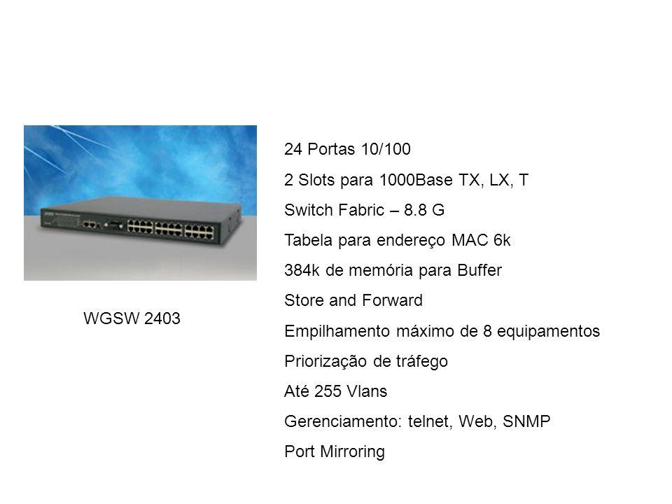 24 Portas 10/100 2 Slots para 1000Base TX, LX, T. Switch Fabric – 8.8 G. Tabela para endereço MAC 6k.
