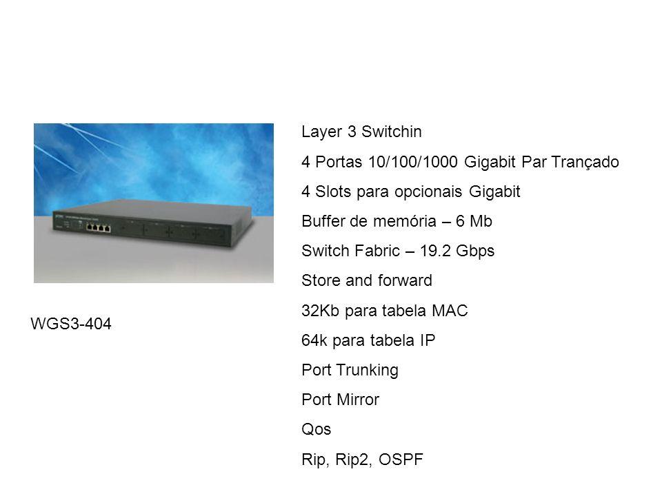 Layer 3 Switchin 4 Portas 10/100/1000 Gigabit Par Trançado. 4 Slots para opcionais Gigabit. Buffer de memória – 6 Mb.