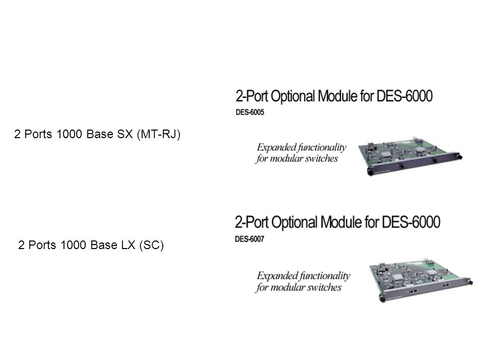 2 Ports 1000 Base SX (MT-RJ) 2 Ports 1000 Base LX (SC)