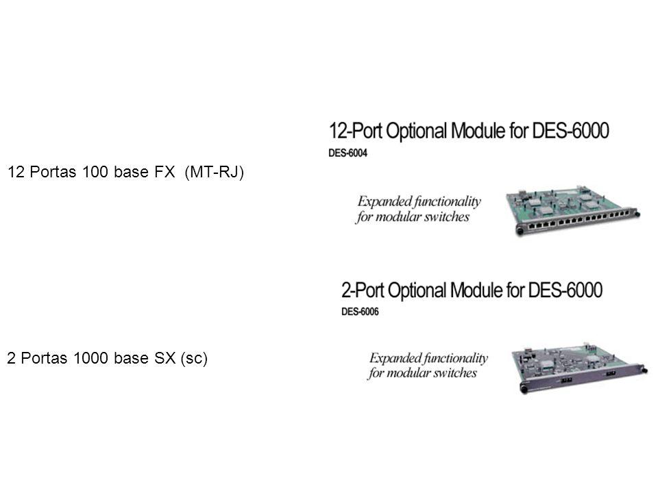 12 Portas 100 base FX (MT-RJ) 2 Portas 1000 base SX (sc)