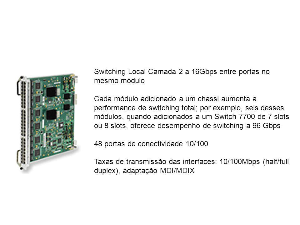 Switching Local Camada 2 a 16Gbps entre portas no mesmo módulo Cada módulo adicionado a um chassi aumenta a performance de switching total; por exemplo, seis desses módulos, quando adicionados a um Switch 7700 de 7 slots ou 8 slots, oferece desempenho de switching a 96 Gbps