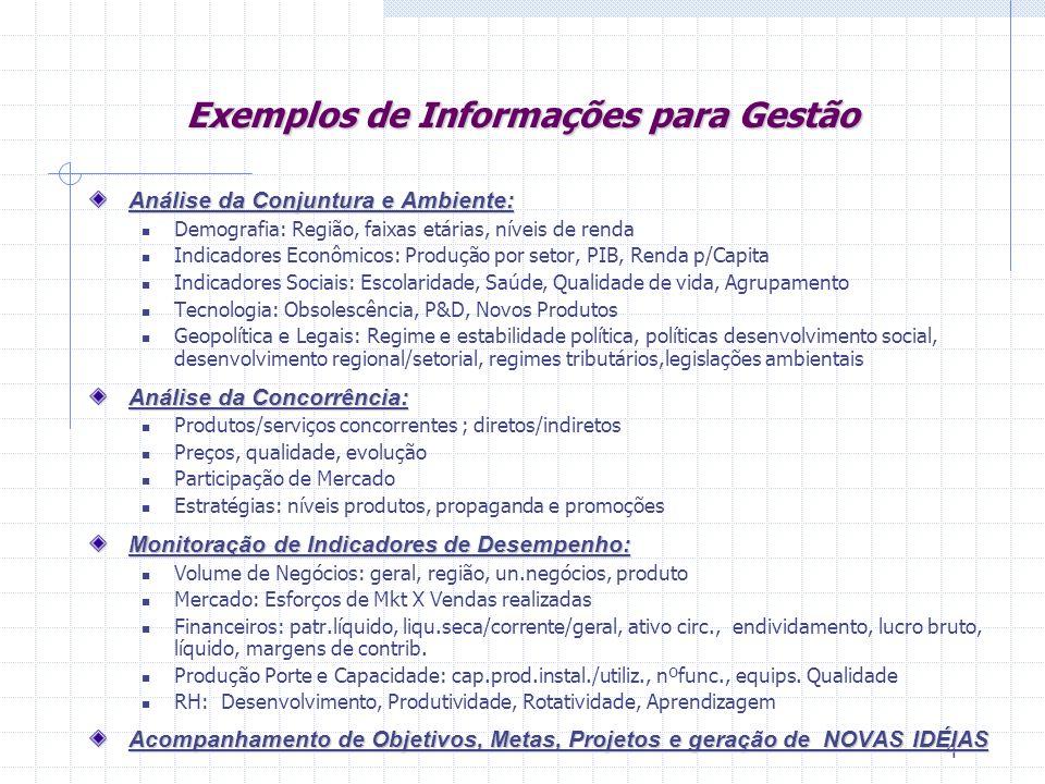 Exemplos de Informações para Gestão