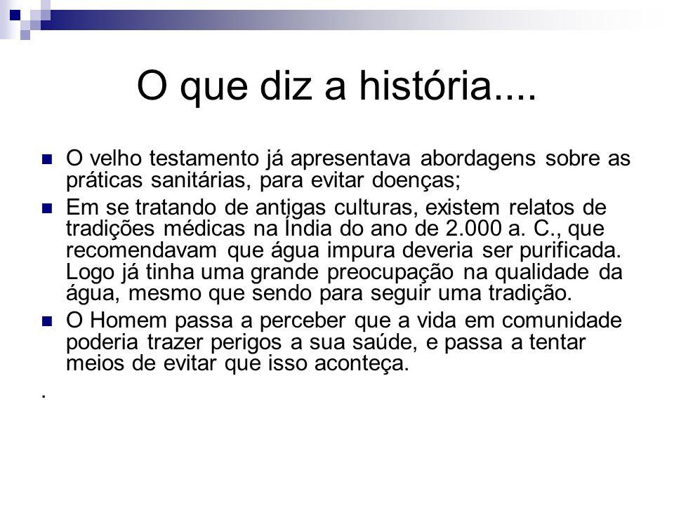O que diz a história.... O velho testamento já apresentava abordagens sobre as práticas sanitárias, para evitar doenças;