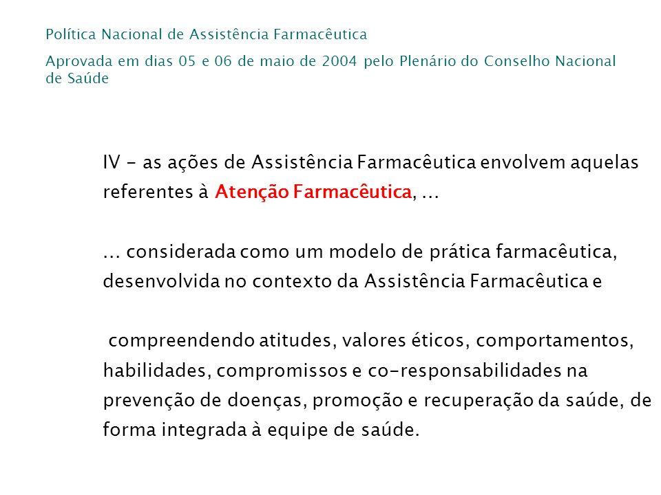 Política Nacional de Assistência Farmacêutica Aprovada em dias 05 e 06 de maio de 2004 pelo Plenário do Conselho Nacional de Saúde