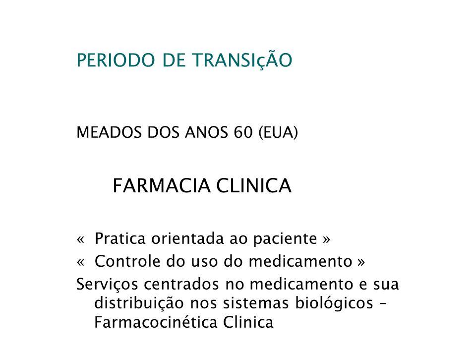 FARMACIA CLINICA PERIODO DE TRANSIçÃO MEADOS DOS ANOS 60 (EUA)