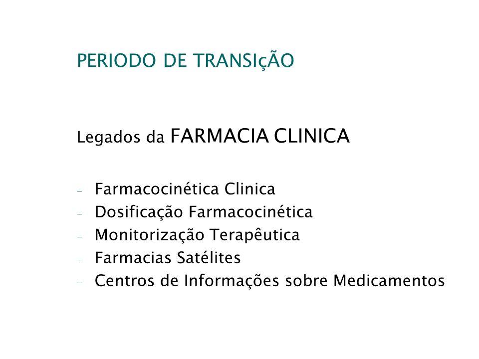 PERIODO DE TRANSIçÃO Legados da FARMACIA CLINICA