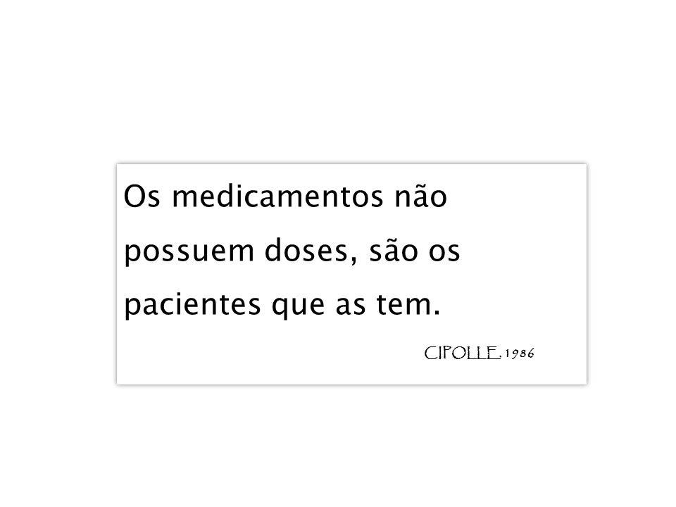 Os medicamentos não possuem doses, são os pacientes que as tem.