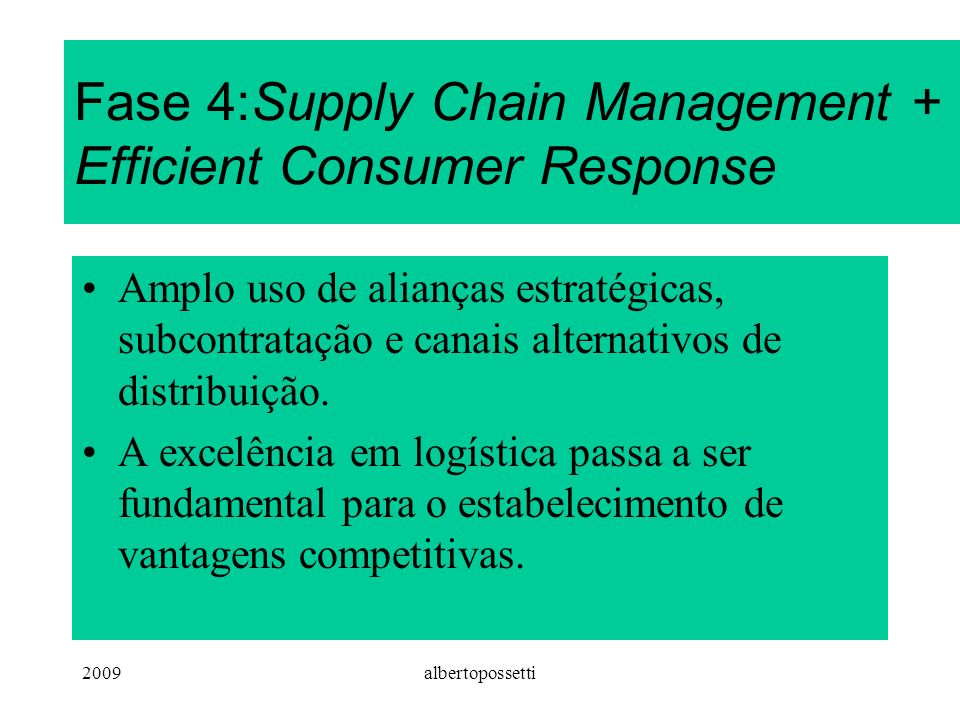 Fase 4:Supply Chain Management + Efficient Consumer Response