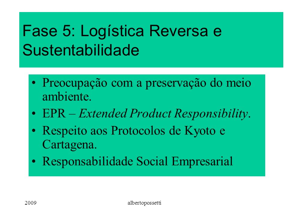 Fase 5: Logística Reversa e Sustentabilidade
