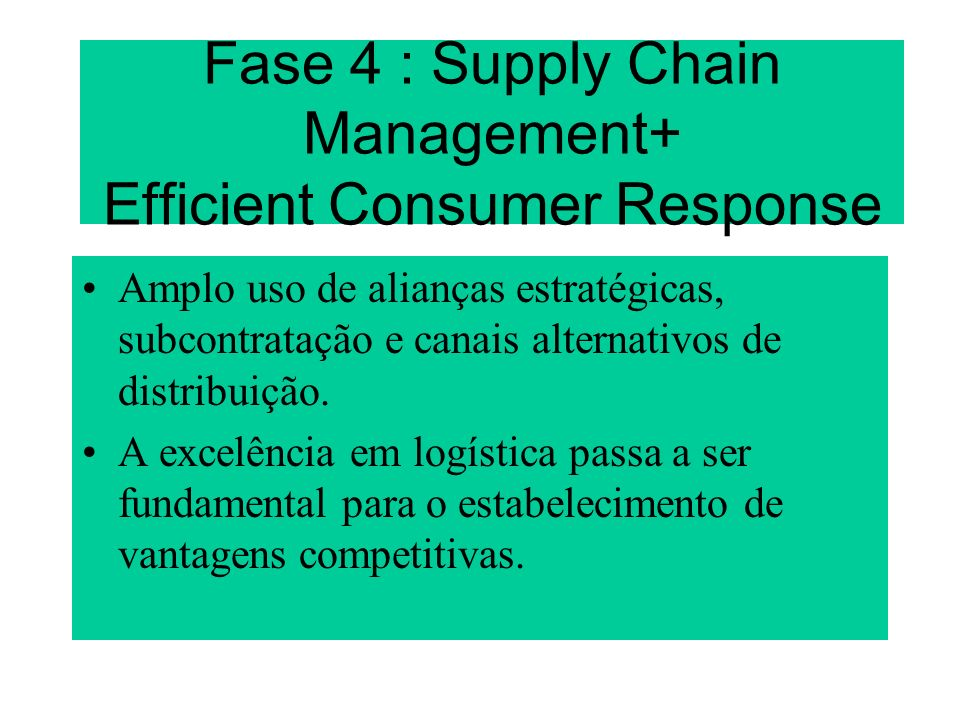 Fase 4 : Supply Chain Management+ Efficient Consumer Response