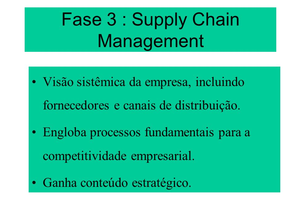 Fase 3 : Supply Chain Management