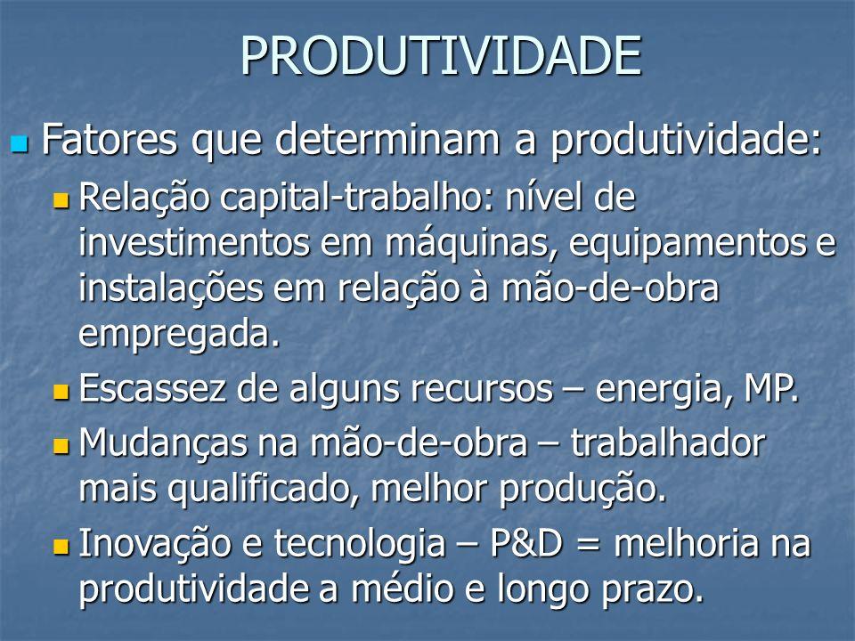 PRODUTIVIDADE Fatores que determinam a produtividade: