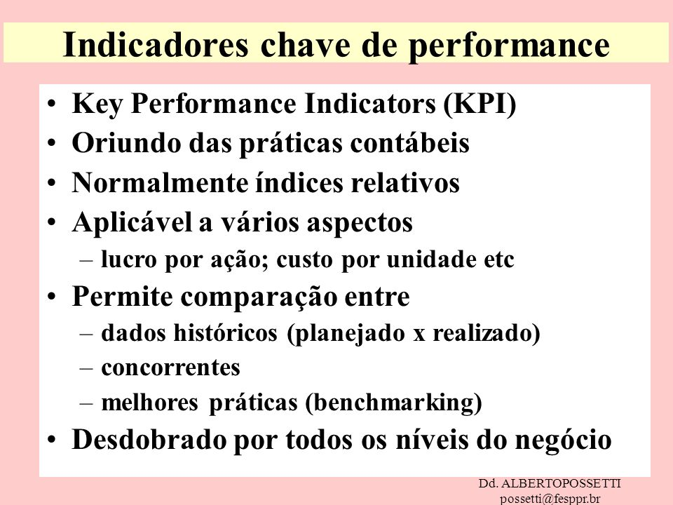 Indicadores chave de performance