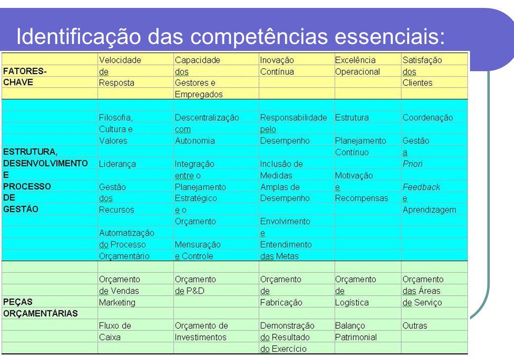 Identificação das competências essenciais:
