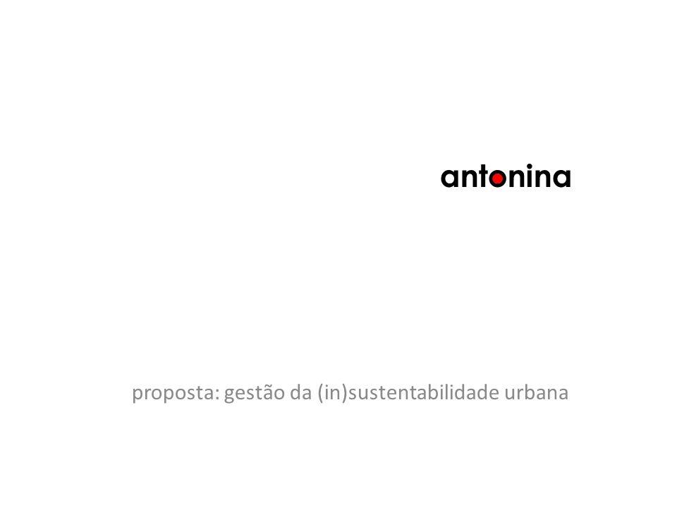 proposta: gestão da (in)sustentabilidade urbana