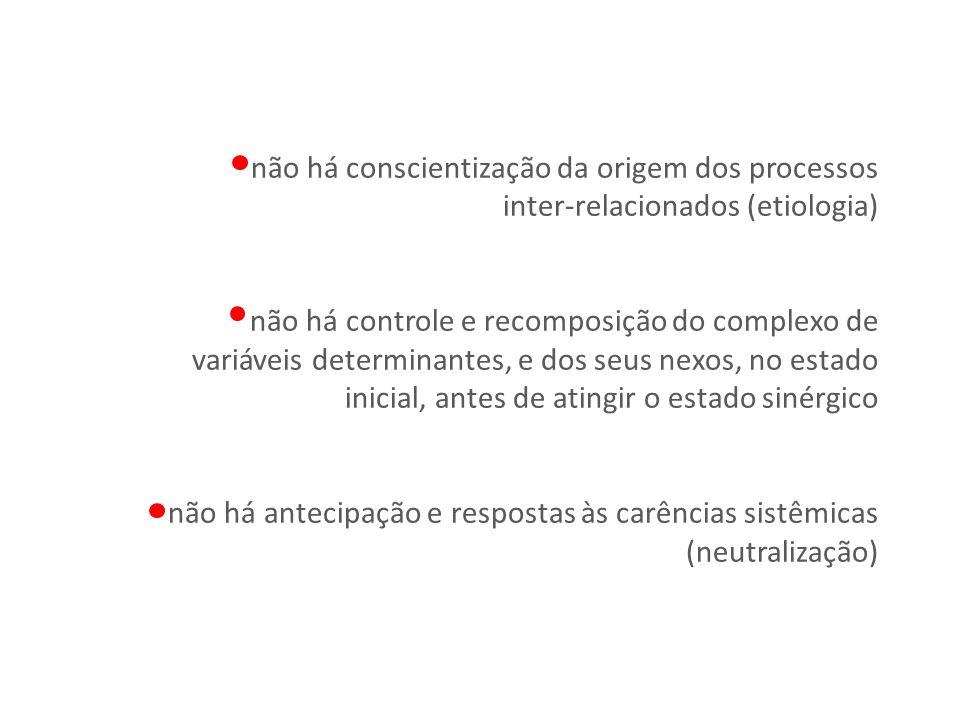 não há conscientização da origem dos processos inter-relacionados (etiologia) não há controle e recomposição do complexo de variáveis determinantes, e dos seus nexos, no estado inicial, antes de atingir o estado sinérgico não há antecipação e respostas às carências sistêmicas (neutralização)