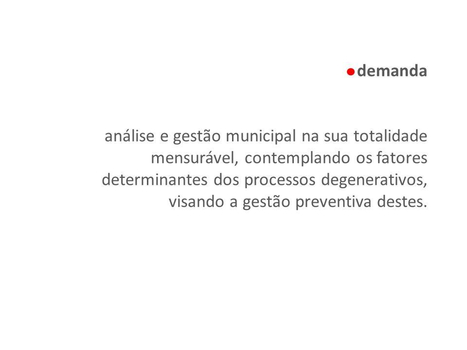 demanda análise e gestão municipal na sua totalidade mensurável, contemplando os fatores determinantes dos processos degenerativos, visando a gestão preventiva destes.