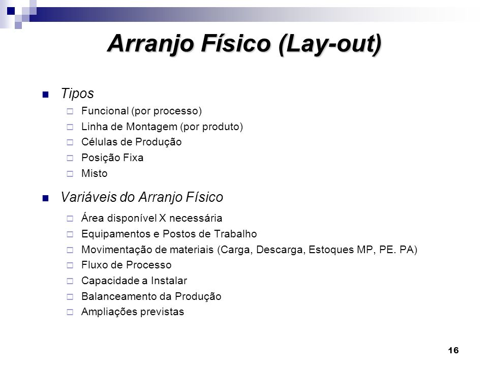 Arranjo Físico (Lay-out)