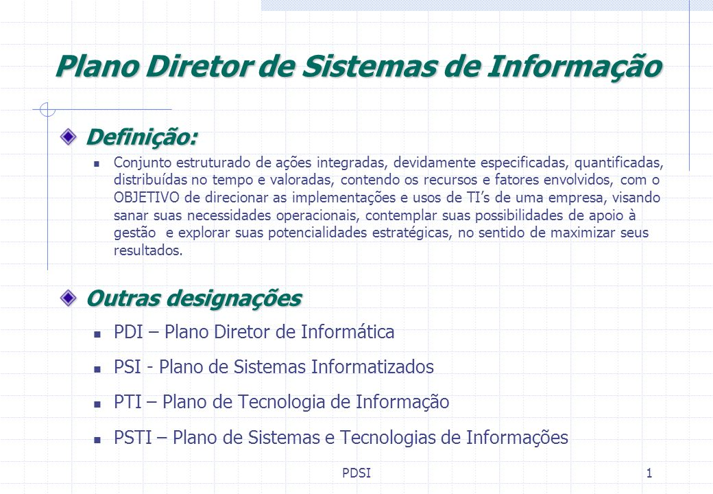 Plano Diretor de Sistemas de Informação