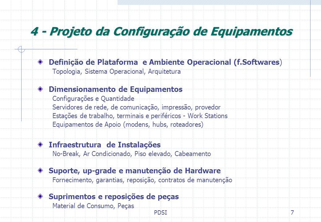 4 - Projeto da Configuração de Equipamentos