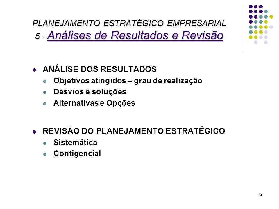 PLANEJAMENTO ESTRATÉGICO EMPRESARIAL 5 - Análises de Resultados e Revisão