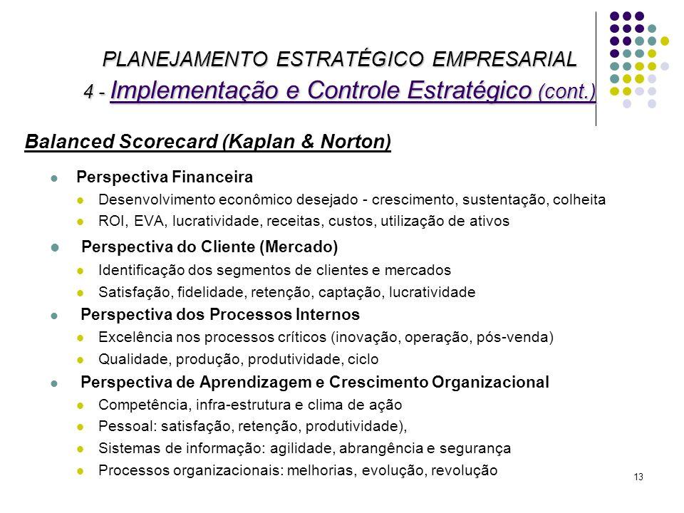 PLANEJAMENTO ESTRATÉGICO EMPRESARIAL 4 - Implementação e Controle Estratégico (cont.)