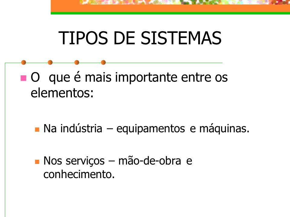 TIPOS DE SISTEMAS O que é mais importante entre os elementos:
