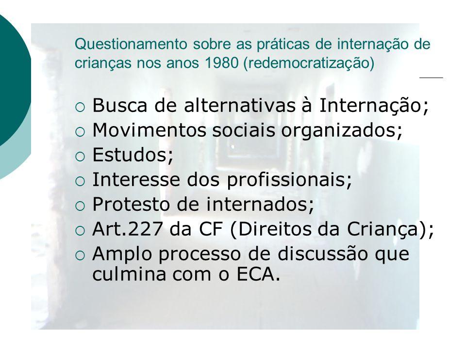 Busca de alternativas à Internação; Movimentos sociais organizados;
