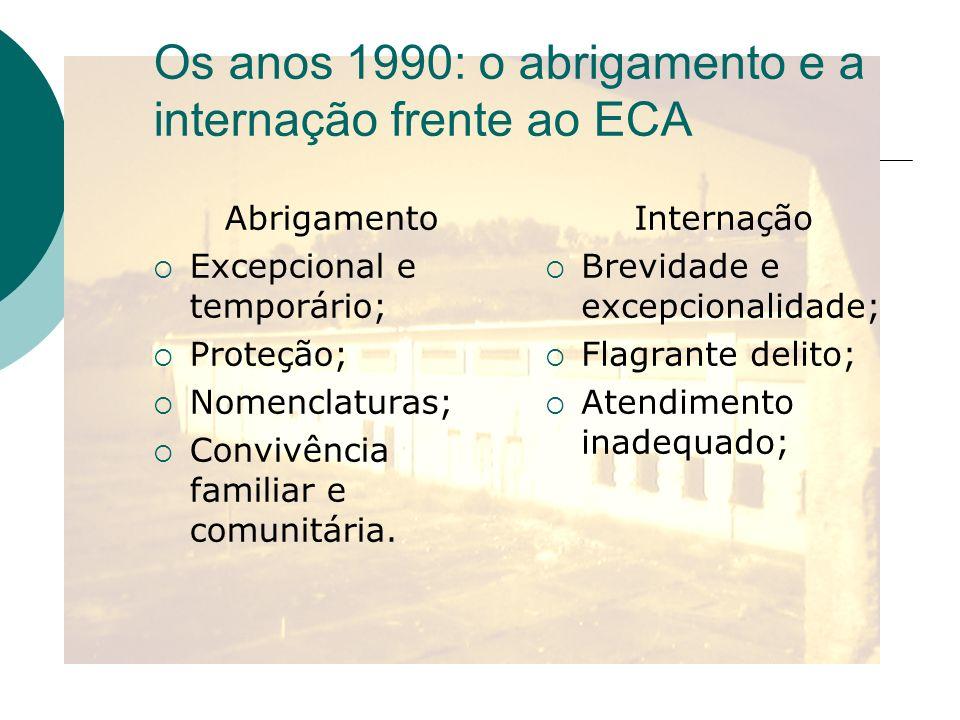 Os anos 1990: o abrigamento e a internação frente ao ECA