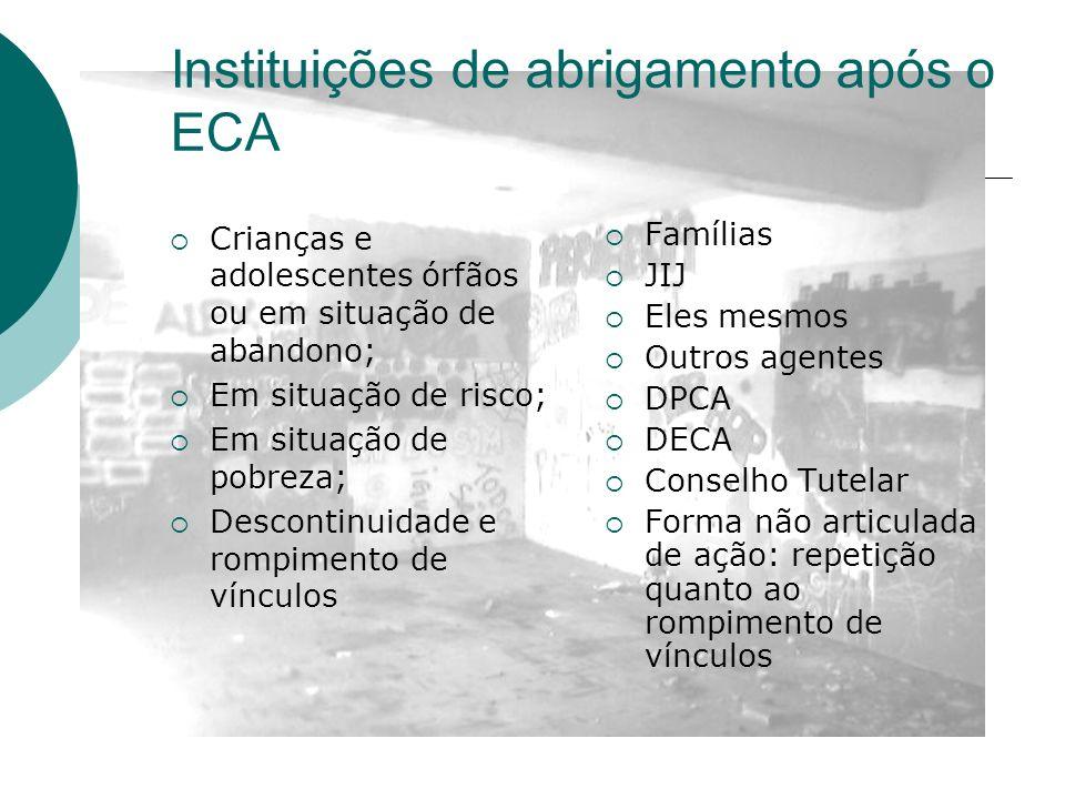 Instituições de abrigamento após o ECA
