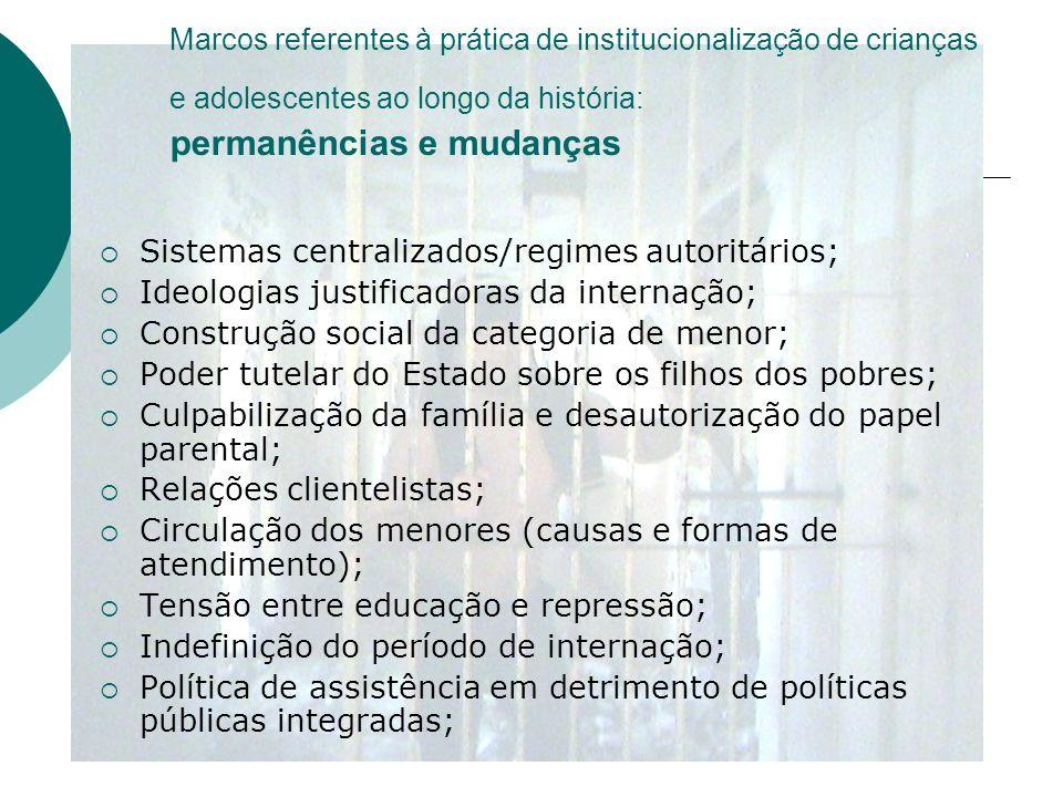 Sistemas centralizados/regimes autoritários;