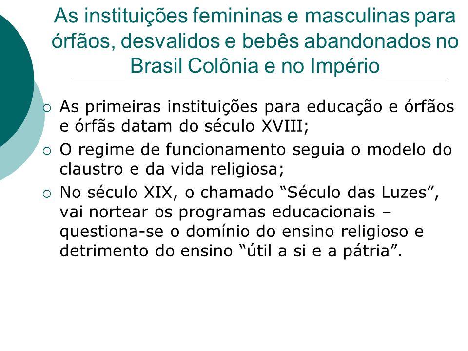As instituições femininas e masculinas para órfãos, desvalidos e bebês abandonados no Brasil Colônia e no Império