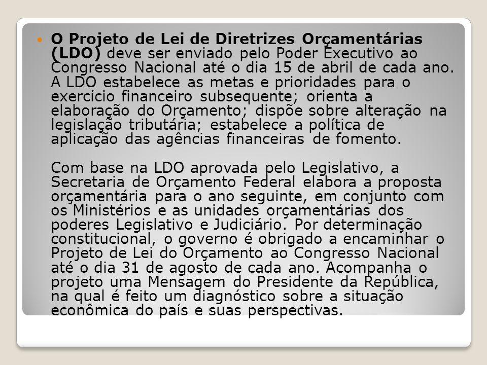 O Projeto de Lei de Diretrizes Orçamentárias (LDO) deve ser enviado pelo Poder Executivo ao Congresso Nacional até o dia 15 de abril de cada ano.