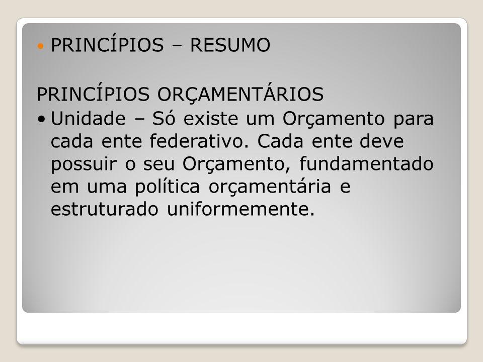 PRINCÍPIOS – RESUMO PRINCÍPIOS ORÇAMENTÁRIOS.