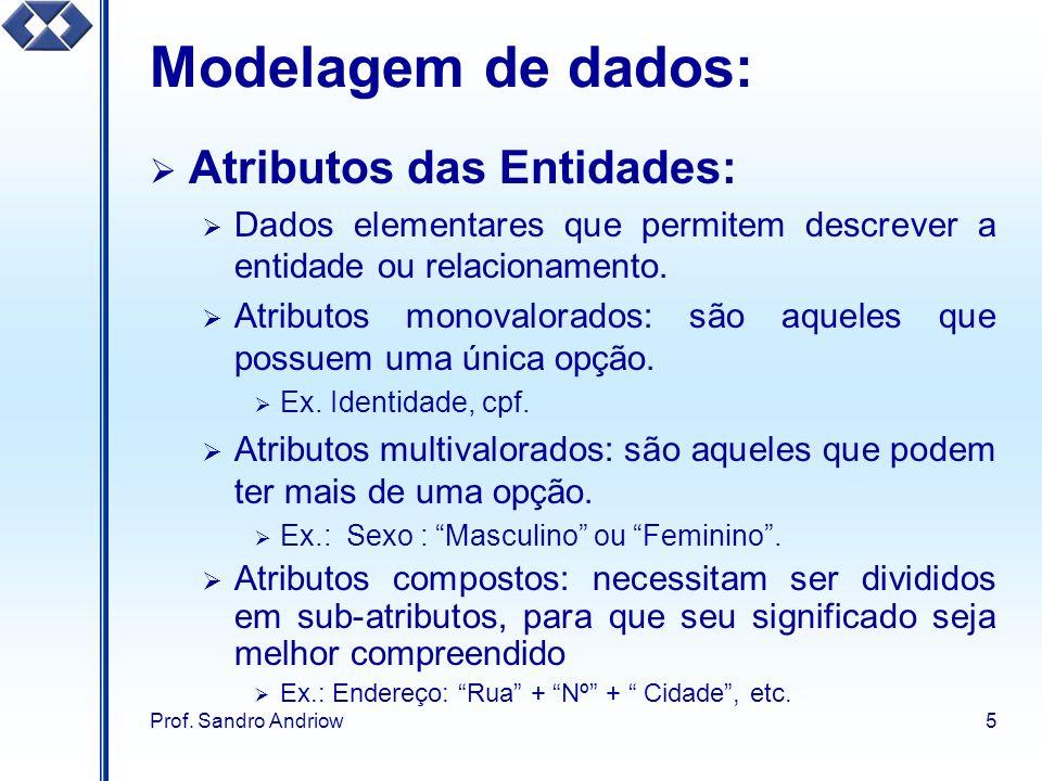 Modelagem de dados: Atributos das Entidades: