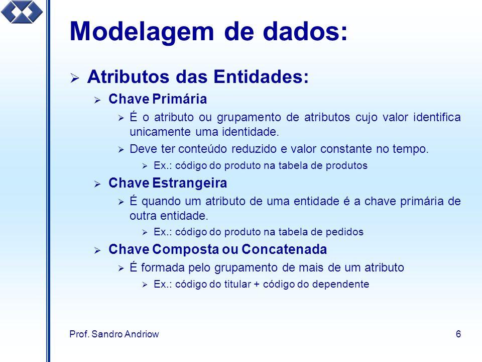 Modelagem de dados: Atributos das Entidades: Chave Primária