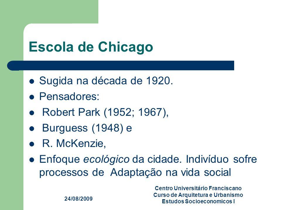 Escola de Chicago Sugida na década de 1920. Pensadores: