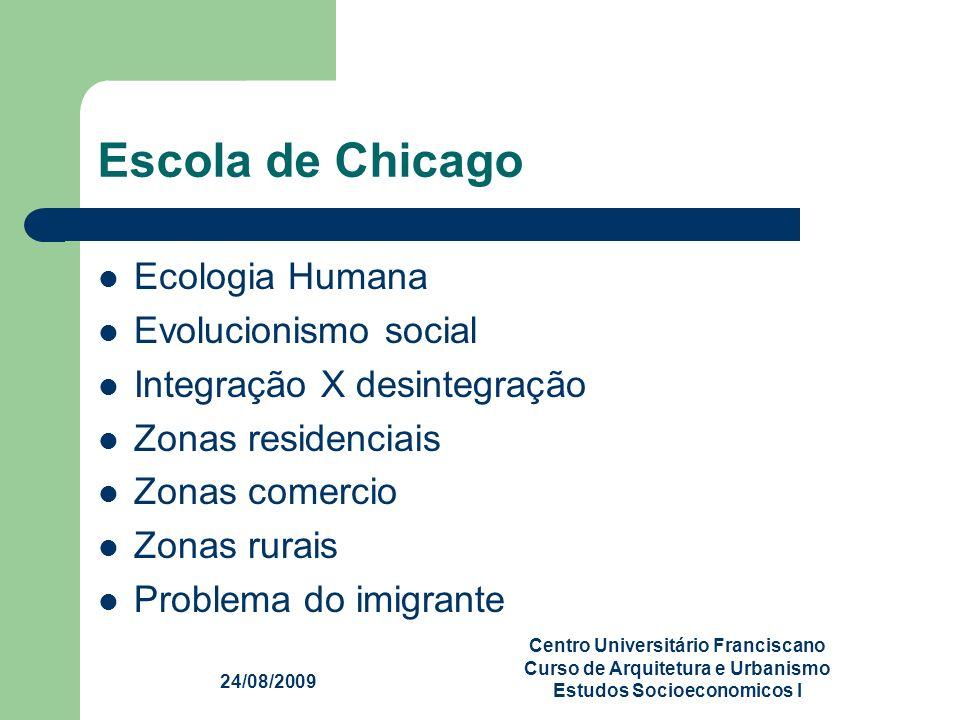 Escola de Chicago Ecologia Humana Evolucionismo social