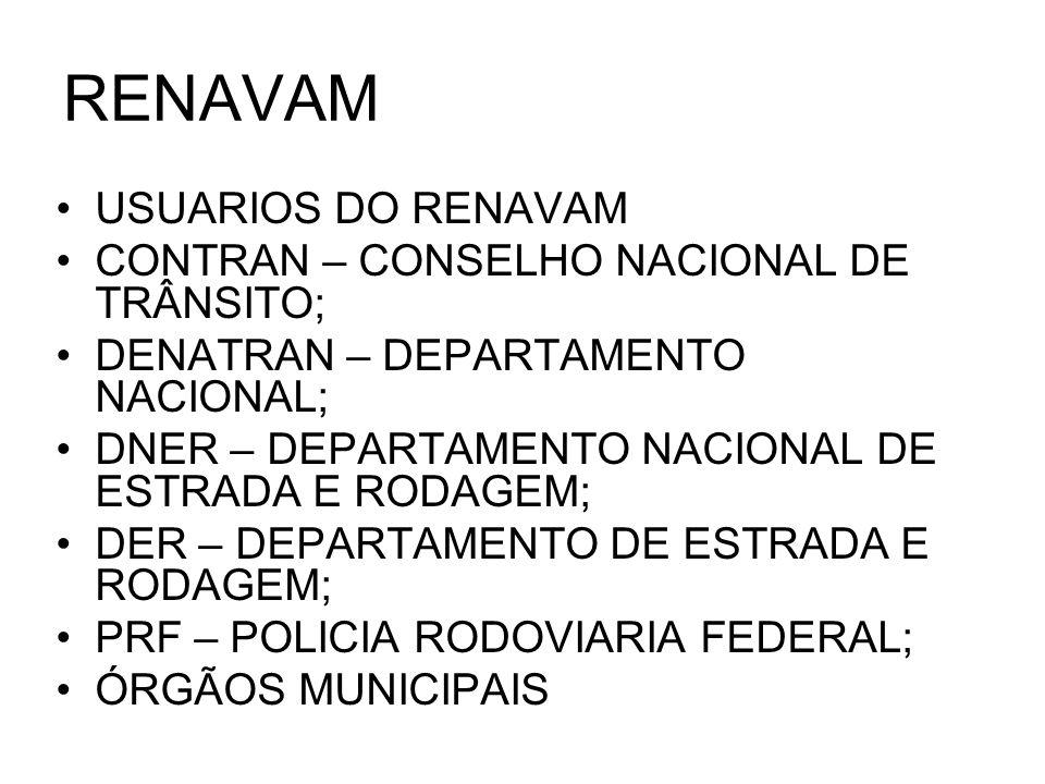 RENAVAM USUARIOS DO RENAVAM CONTRAN – CONSELHO NACIONAL DE TRÂNSITO;