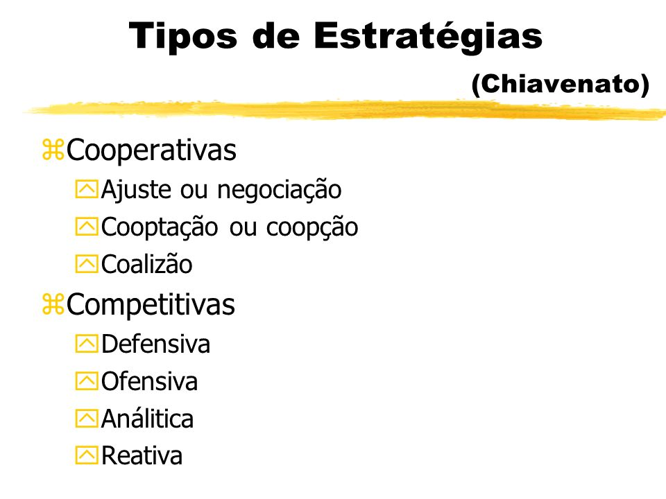 Tipos de Estratégias (Chiavenato)