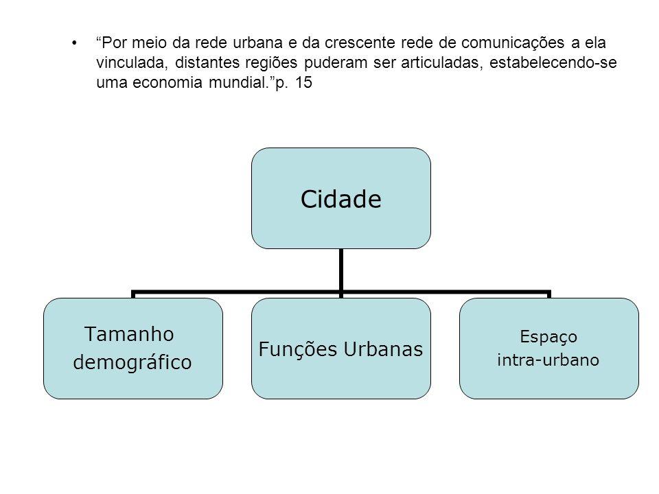 Por meio da rede urbana e da crescente rede de comunicações a ela vinculada, distantes regiões puderam ser articuladas, estabelecendo-se uma economia mundial. p.