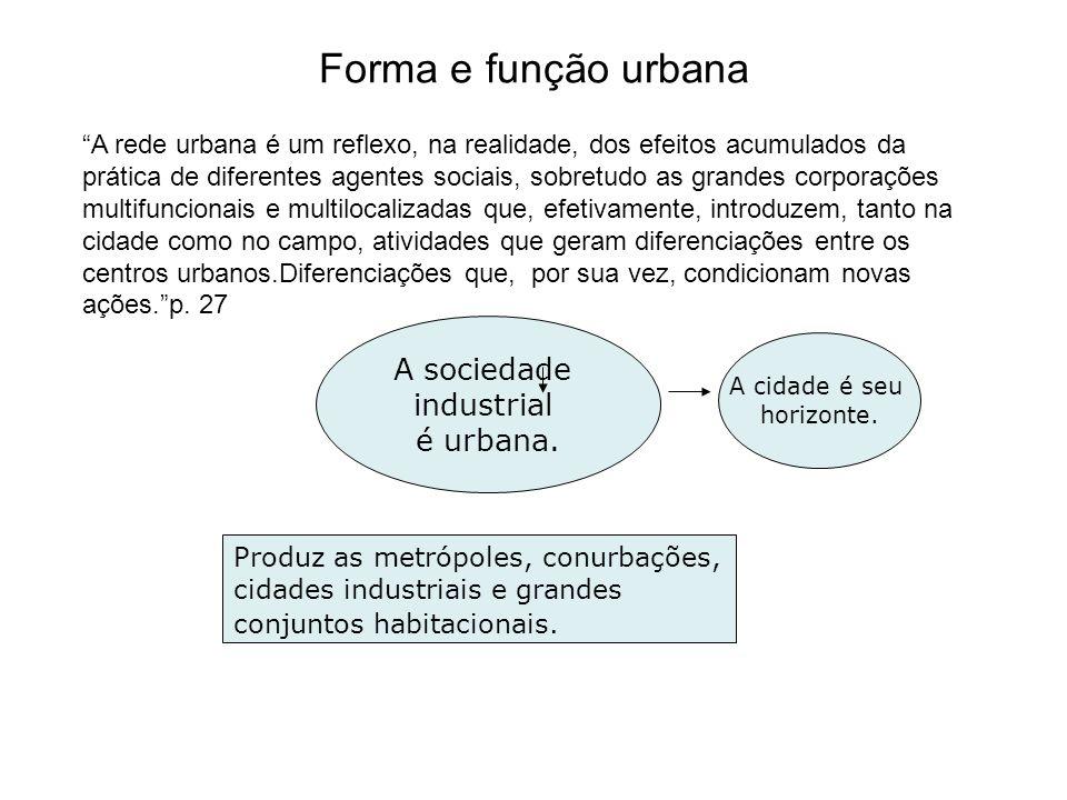 Forma e função urbana A sociedade industrial é urbana.