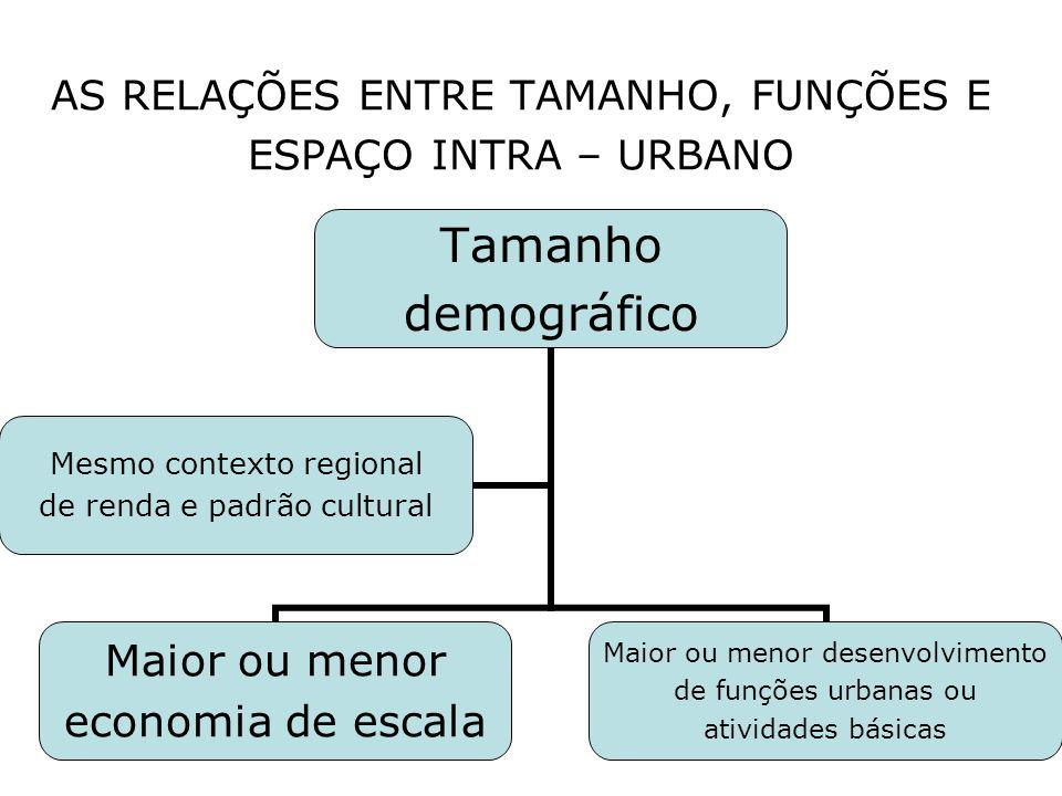AS RELAÇÕES ENTRE TAMANHO, FUNÇÕES E ESPAÇO INTRA – URBANO